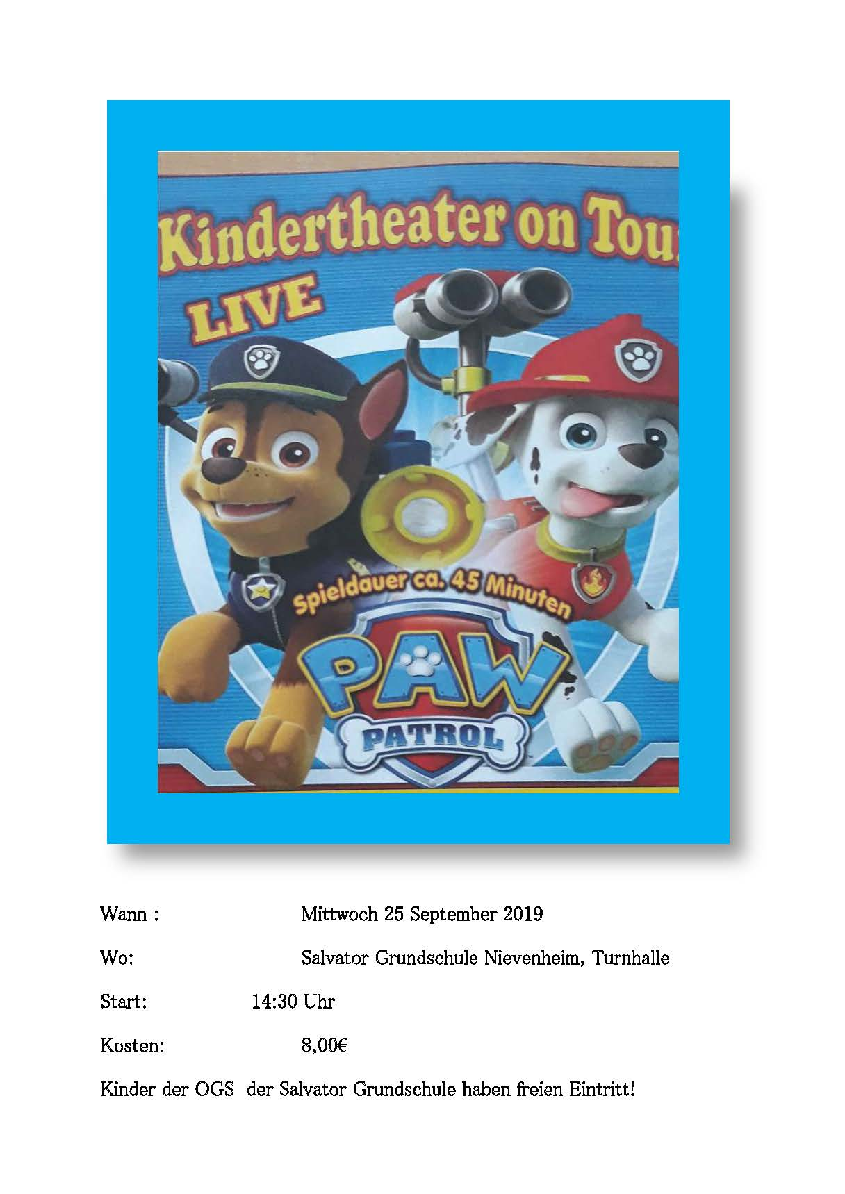 Kindertheater on Tour am 25.09.2019 an der Salvator-Schule