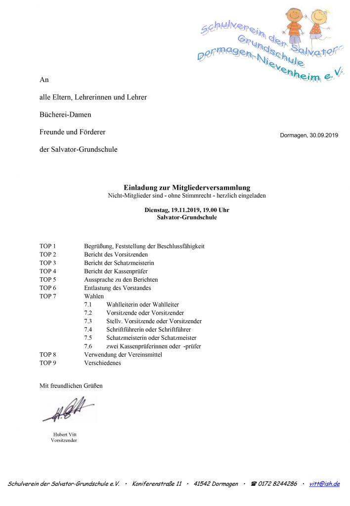 Einladung Mitgliederversammlung Schulverein 2019